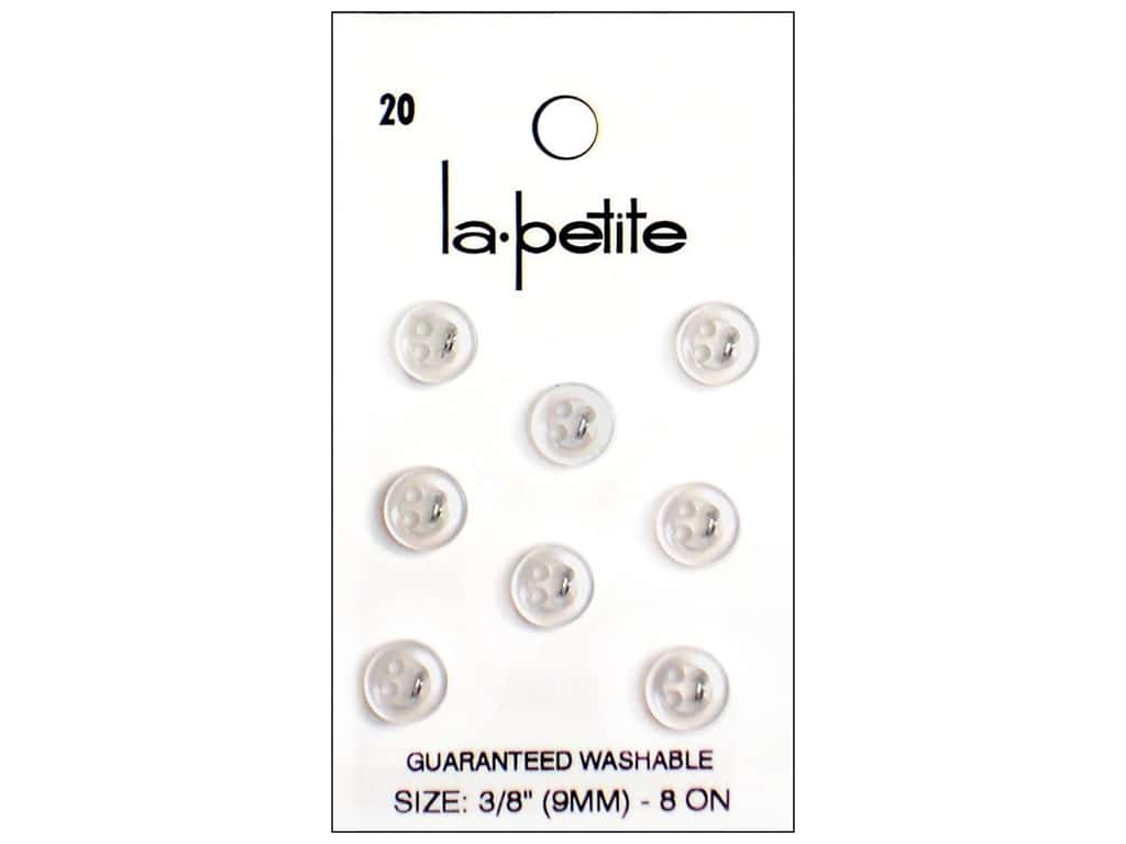LaPetite 4 Hole Buttons 3/8 in. White #20 8pc.