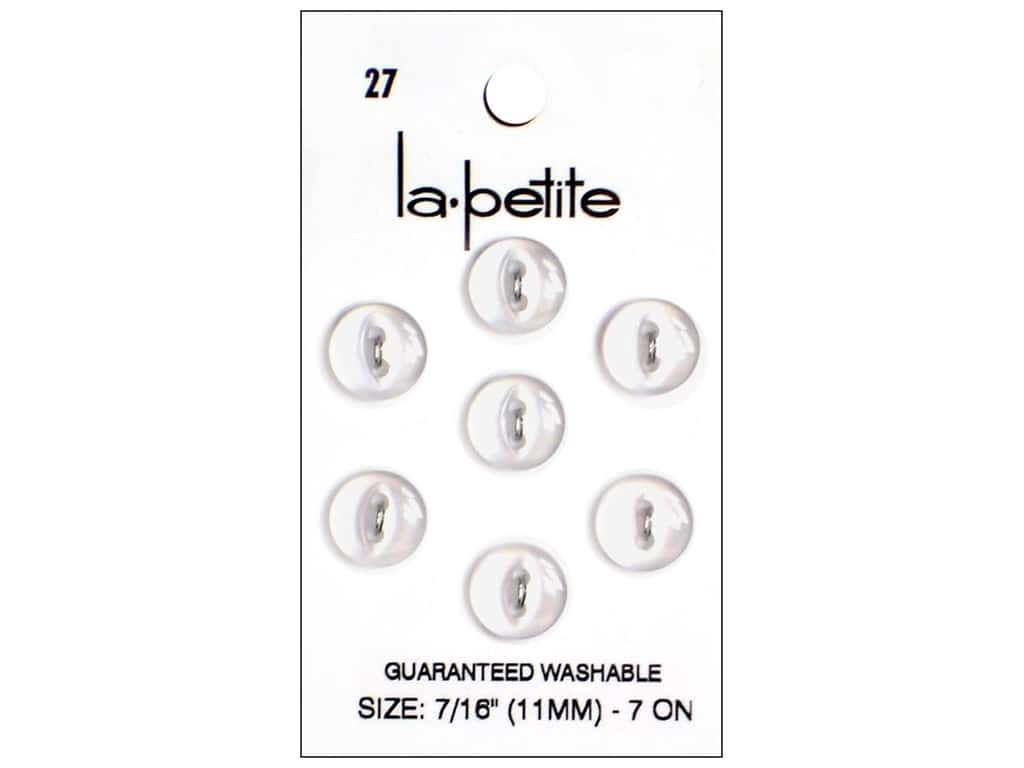 LaPetite 2 Hole Buttons 7/16 in. White #27 7pc.