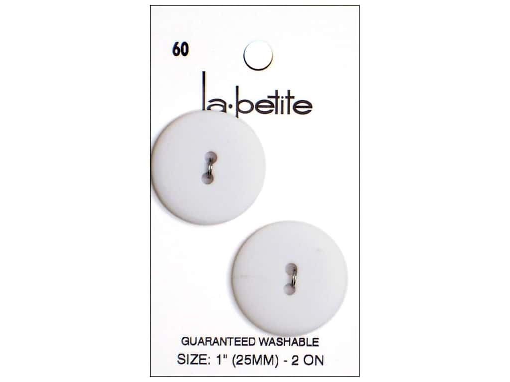 LaPetite 2 Hole Buttons 1 in. White #60 2pc.