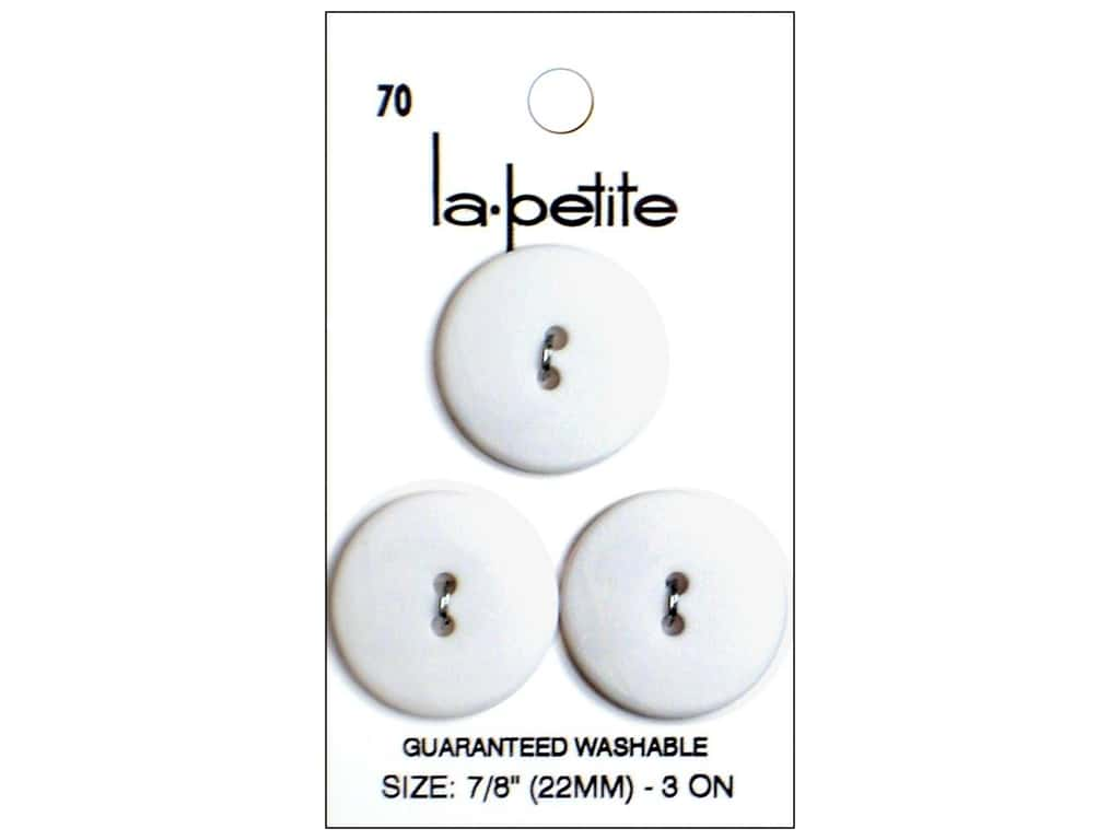 LaPetite 2 Hole Buttons 7/8 in. White #70 3pc.