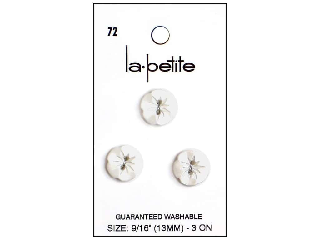 LaPetite 2 Hole Buttons 9/16 in. Flower White #72 3pc.