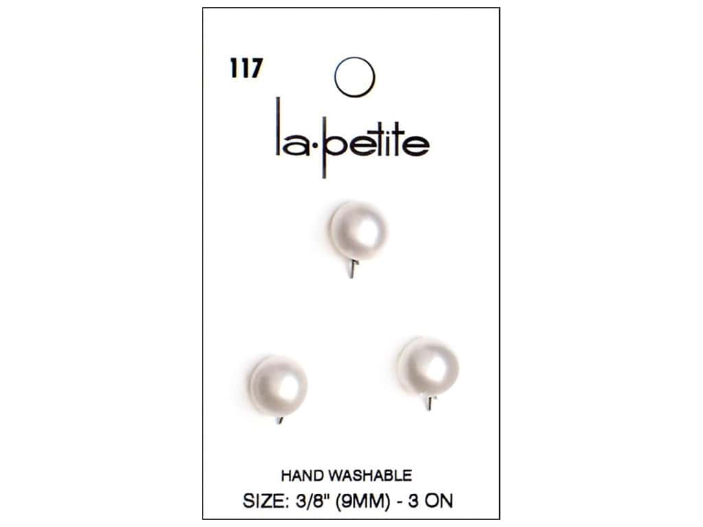 LaPetite Prong Buttons 3/8 in. White #117 3pc.