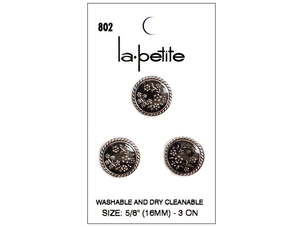 LaPetite Buttons - Shank - 5/8 in. Silver/Black 3 pc.