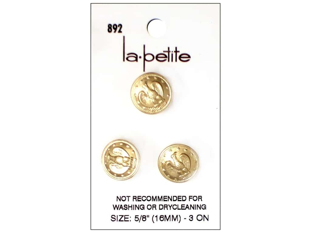 LaPetite Shank Buttons 5/8 in. Gold with Eagle #892 3pc.