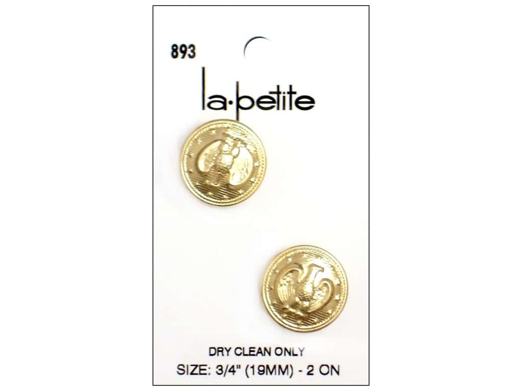 LaPetite Shank Buttons 3/4 in. Gold with Eagle #893 2 pc.