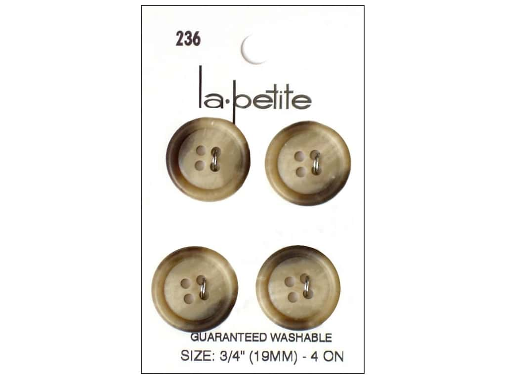 LaPetite Buttons - 4 Hole - 3/4 in. Beige 4 pc.