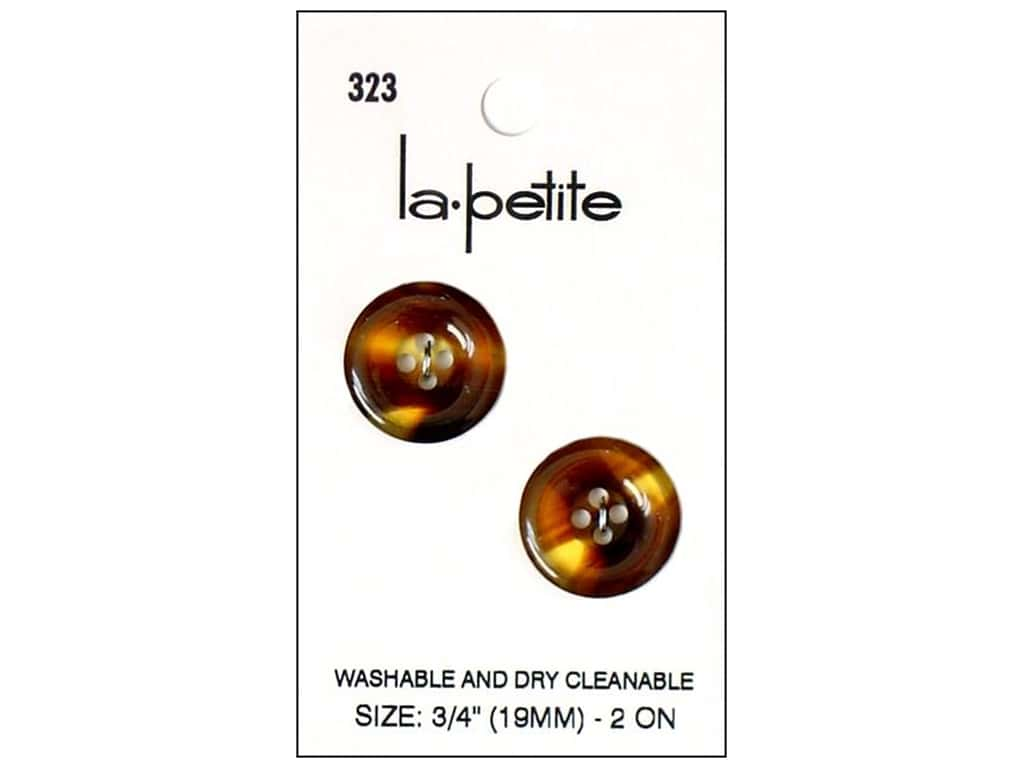 LaPetite 4 Hole Buttons 3/4 in. Tortoise #323 2pc.