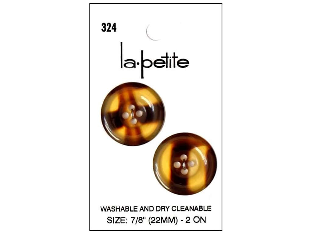 LaPetite 4 Hole Buttons 7/8 in. Tortoise #324 2pc.