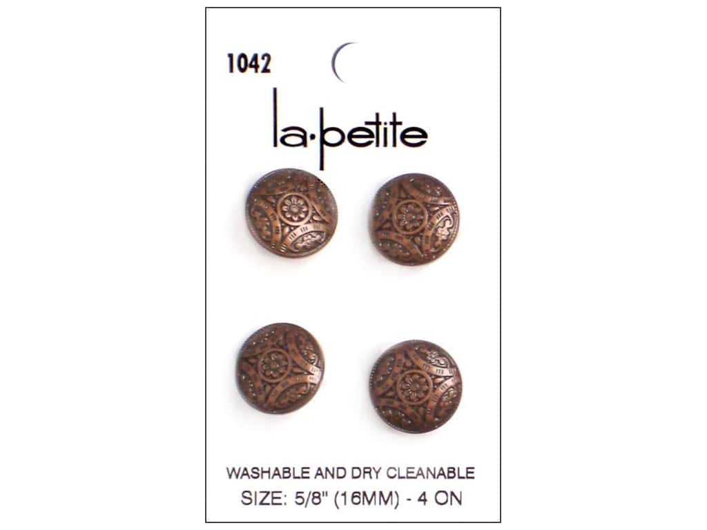 LaPetite Shank Buttons 5/8 in. Antique Copper #1042 4pc