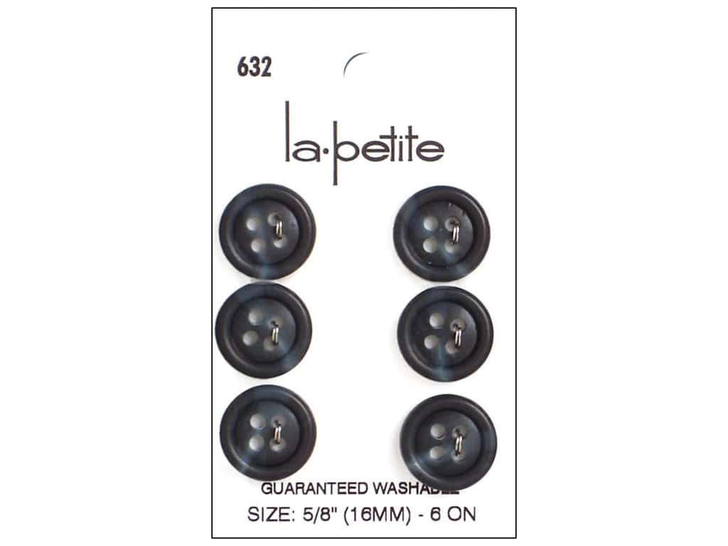 LaPetite 4 Hole Buttons 5/8 in. Navy #632 6pc.
