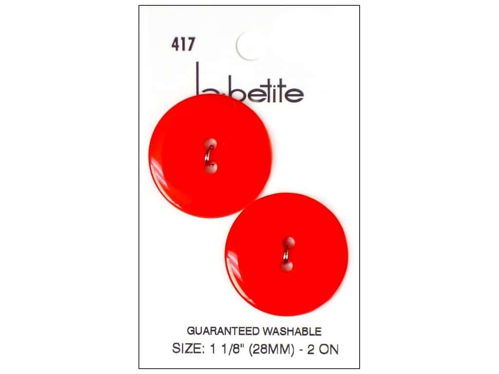 LaPetite 2 Hole Buttons 1 1/8 in. Atom Red #417 2pc.