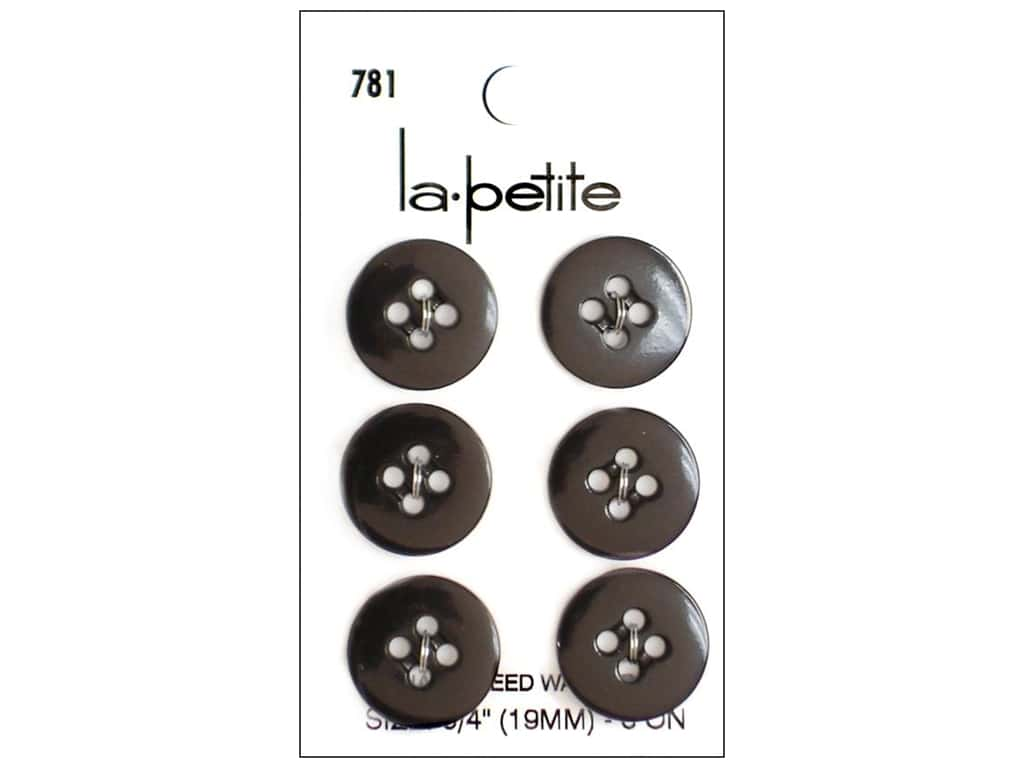 LaPetite 4 Hole Buttons 3/4 in. Black #781 6pc.