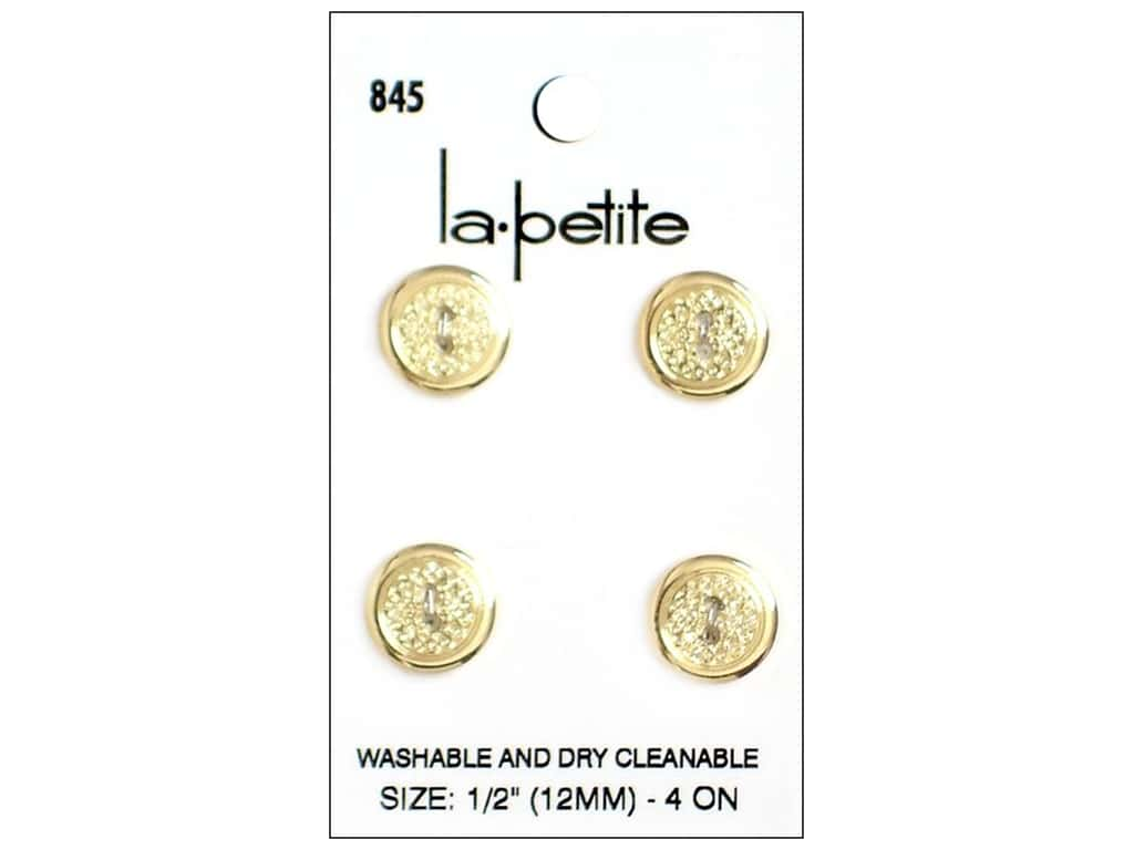 LaPetite 2 Hole Buttons 1/2 in. Gold #845 4pc.