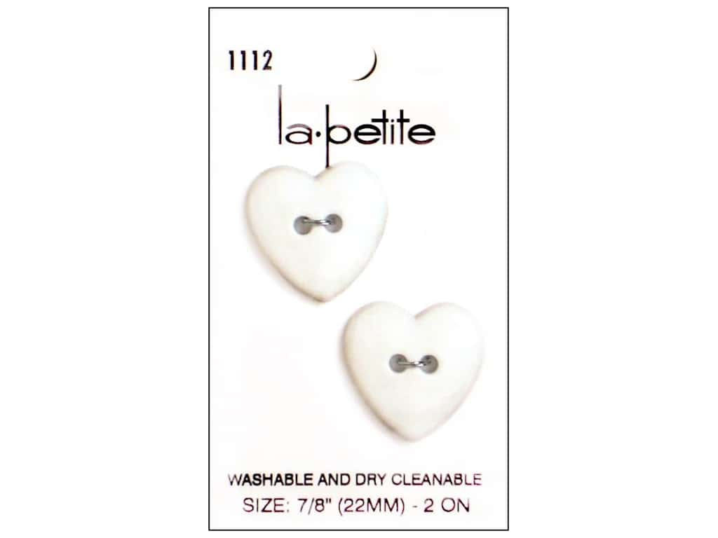 LaPetite 2 Hole Buttons 7/8 in. White Heart #1112 2pc.