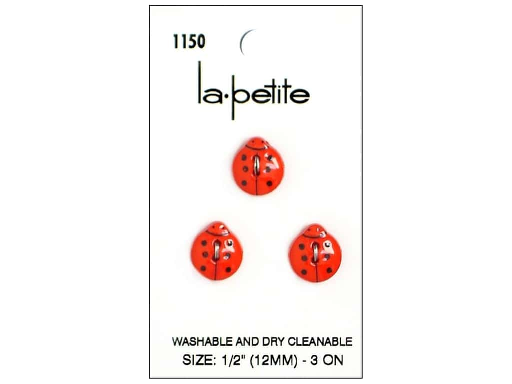 LaPetite 2 Hole Buttons Red Ladybug #1150 3pc
