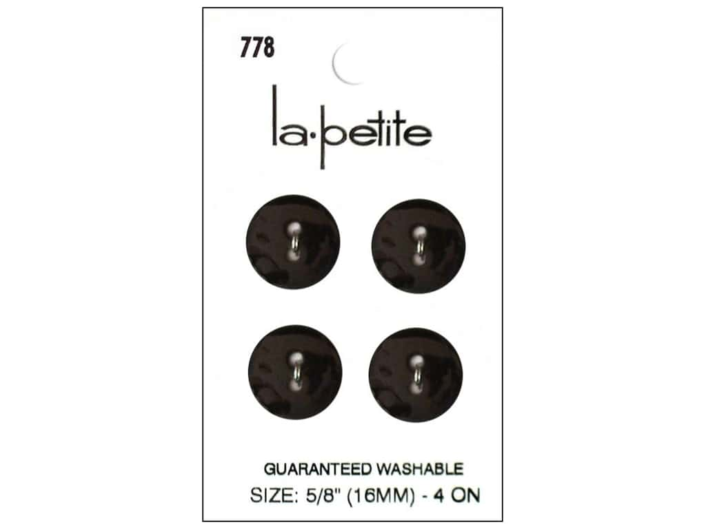 LaPetite 2 Hole Buttons 5/8 in. Black #778 4pc.