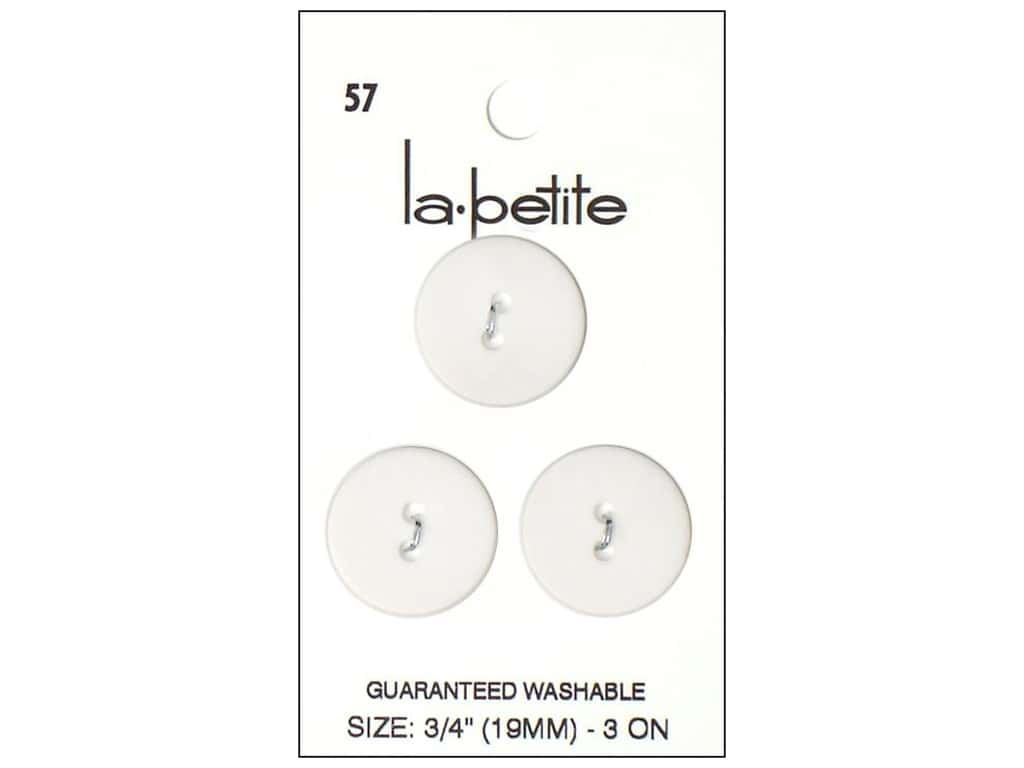 LaPetite 2 Hole Buttons 3/4 in. White #57 3pc.