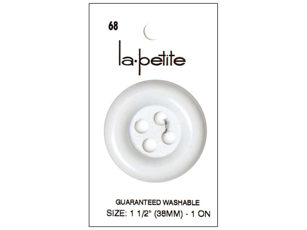 LaPetite Buttons - 4 Hole - 1 1/2 in. White 1 pc.