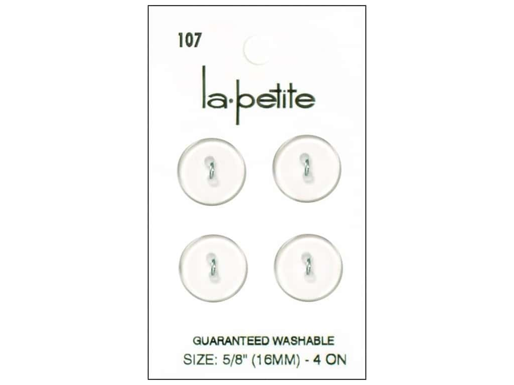 LaPetite 2 Hole Buttons 5/8 in. Clear #107 4pc.