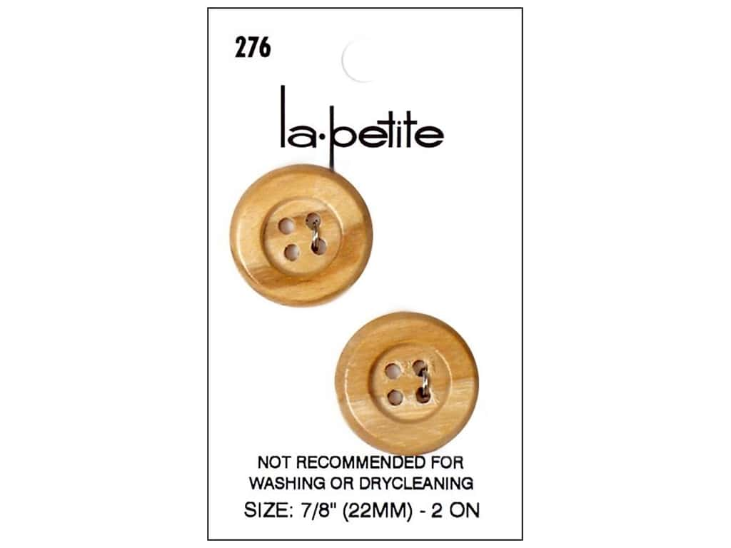 LaPetite Buttons - 4 Hole - 7/8 in. Wood 2 pc.