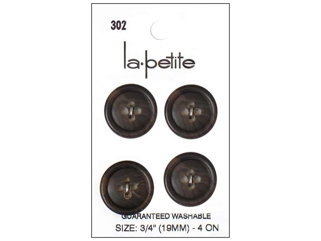 LaPetite 4 Hole Buttons 3/4 in. Brown #302 4 pc.