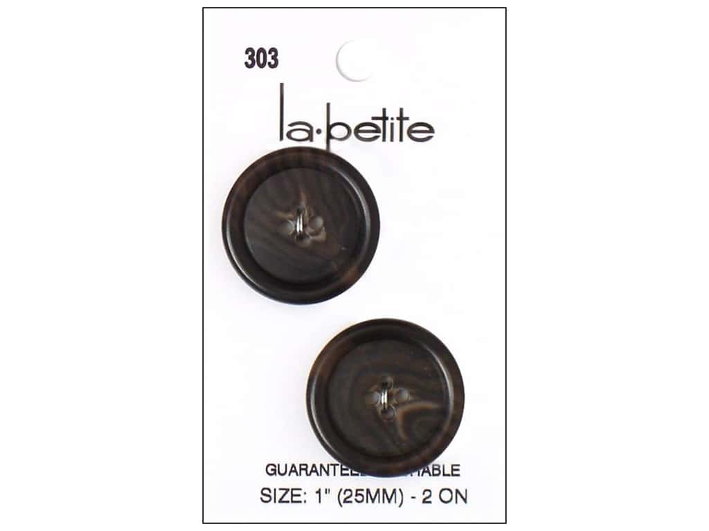 LaPetite 4 Hole Buttons 1 in. Brown #303 2pc.