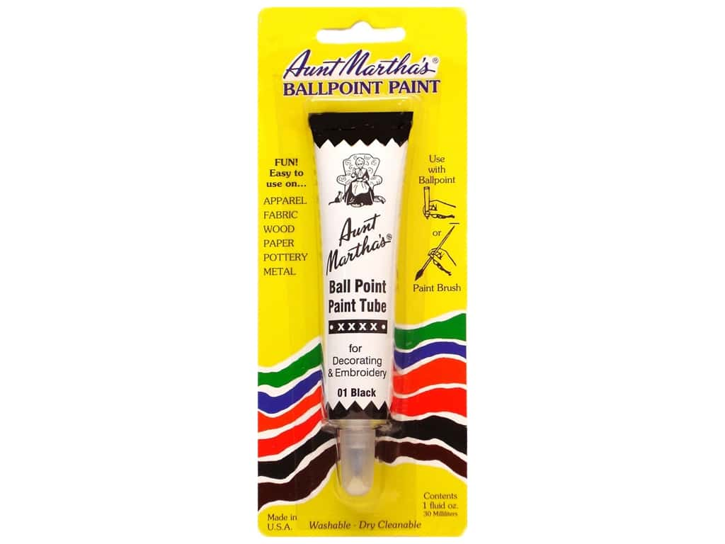 Aunt Martha's Ballpoint Paint Tube - Black 1 oz.