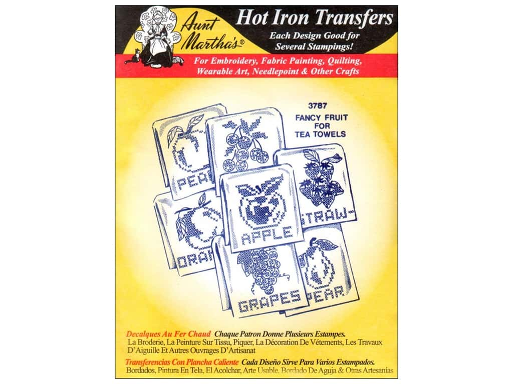 Aunt Martha's Hot Iron Transfer #3787 Fancy Fruit for Tea Towels