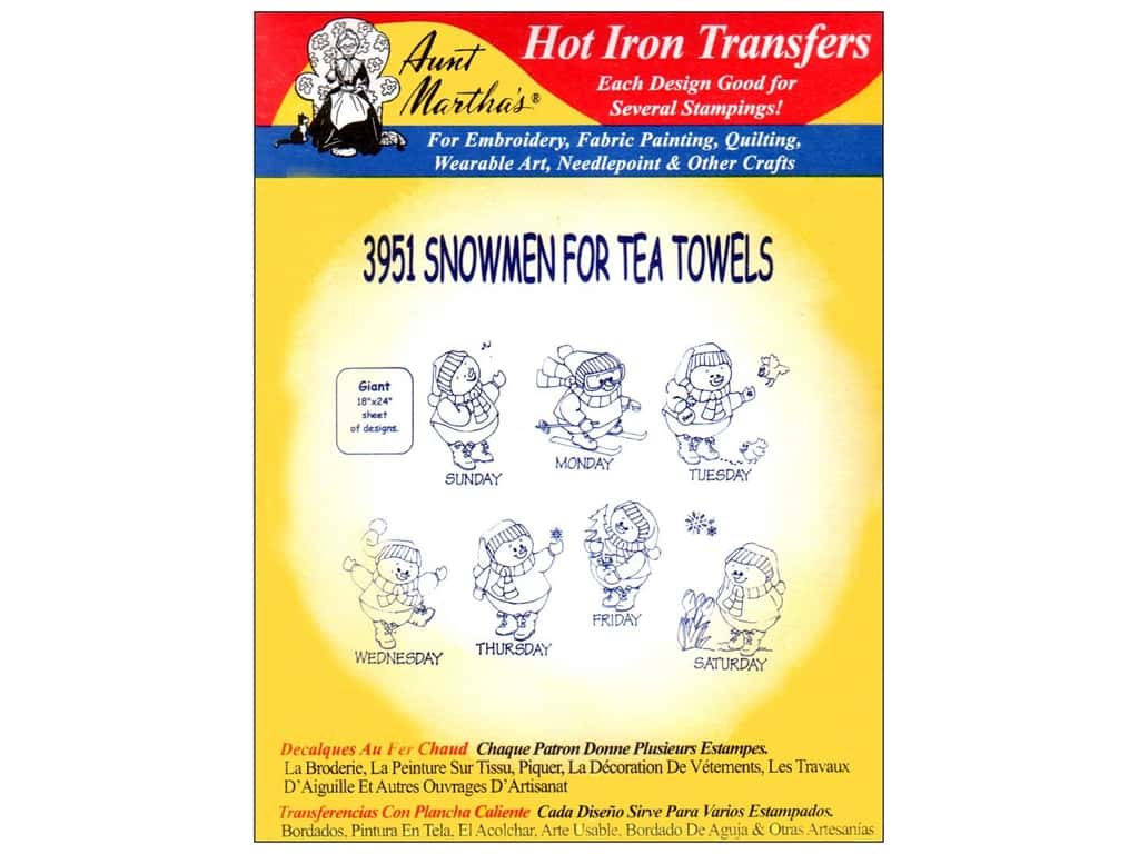 Aunt Martha's Hot Iron Transfer #3951 Snowmen