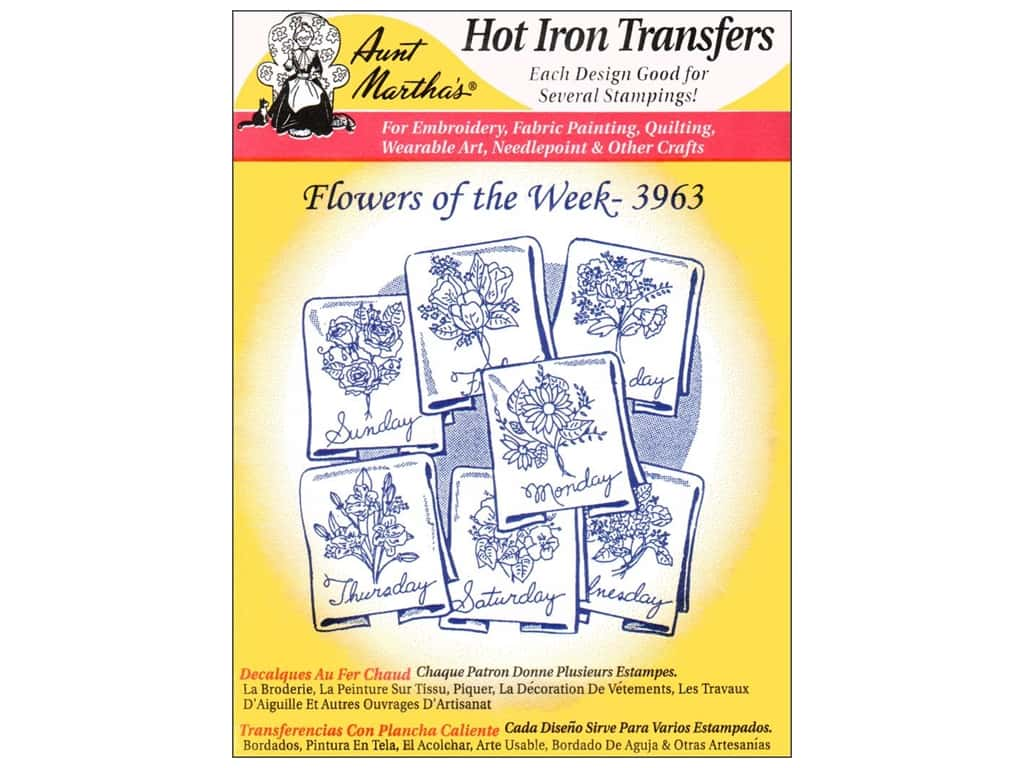 Aunt Martha's Hot Iron Transfer #3963 Flowers of the Week