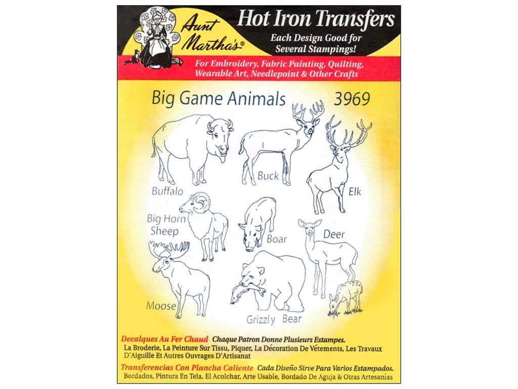 Aunt Martha's Hot Iron Transfer #3969 Big Game Animals