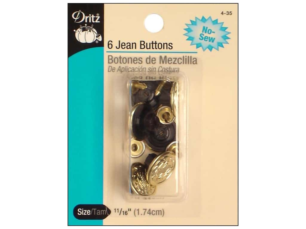 Jean Buttons by Dritz Gilt 6pc