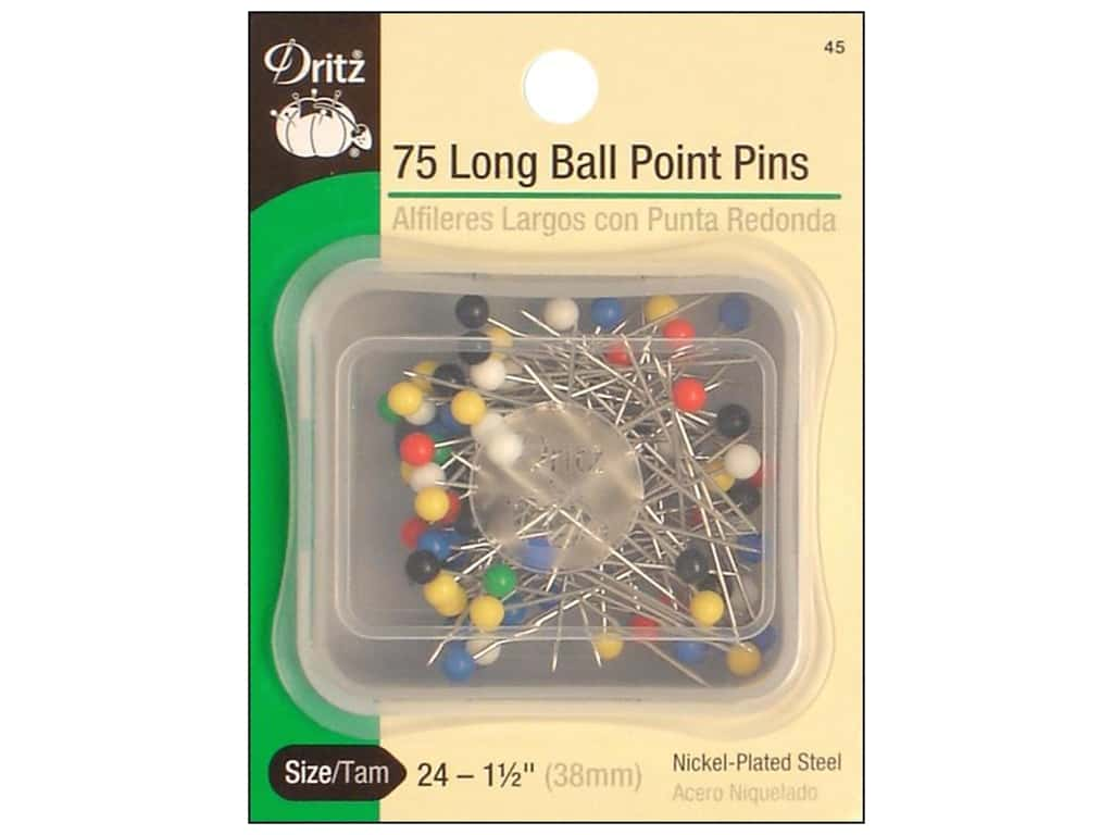 Long Ball Point Pins by Dritz Size 24 75 pc.