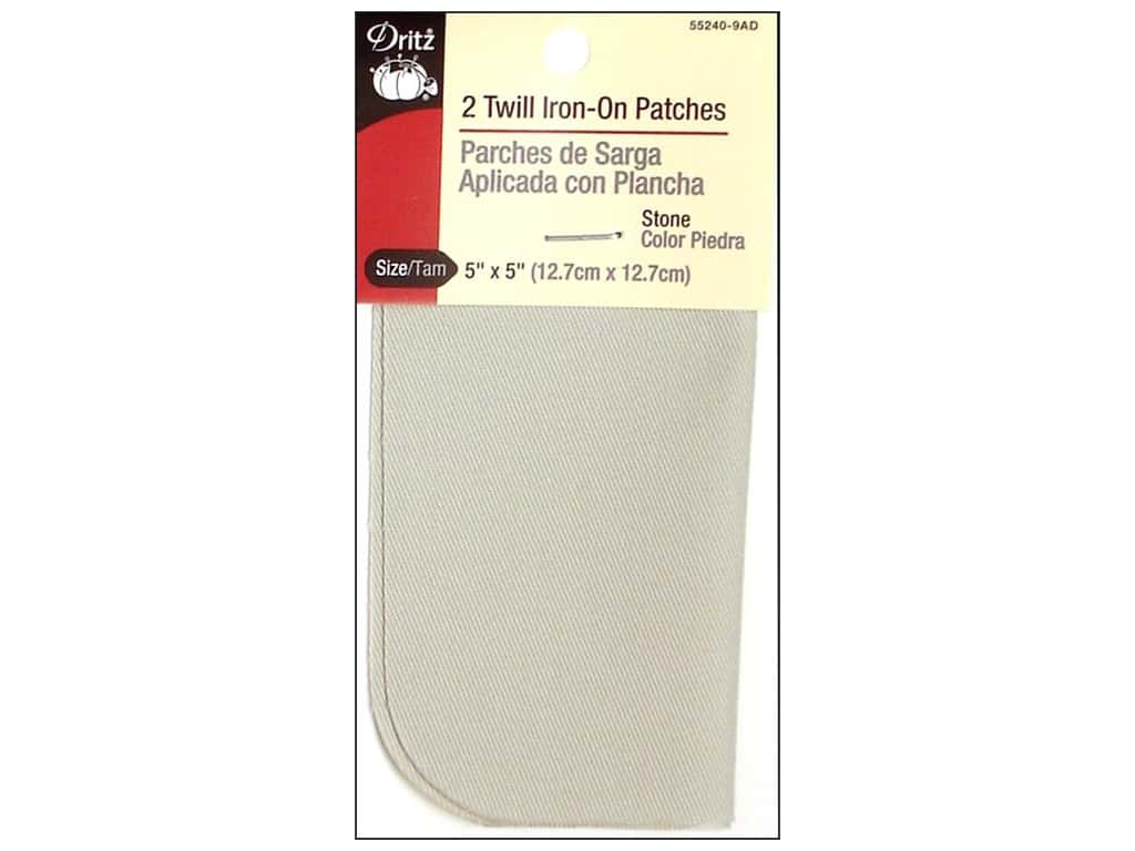 Dritz Twill Iron-On Patches - 5 x 5 in. Stone 2 pc.
