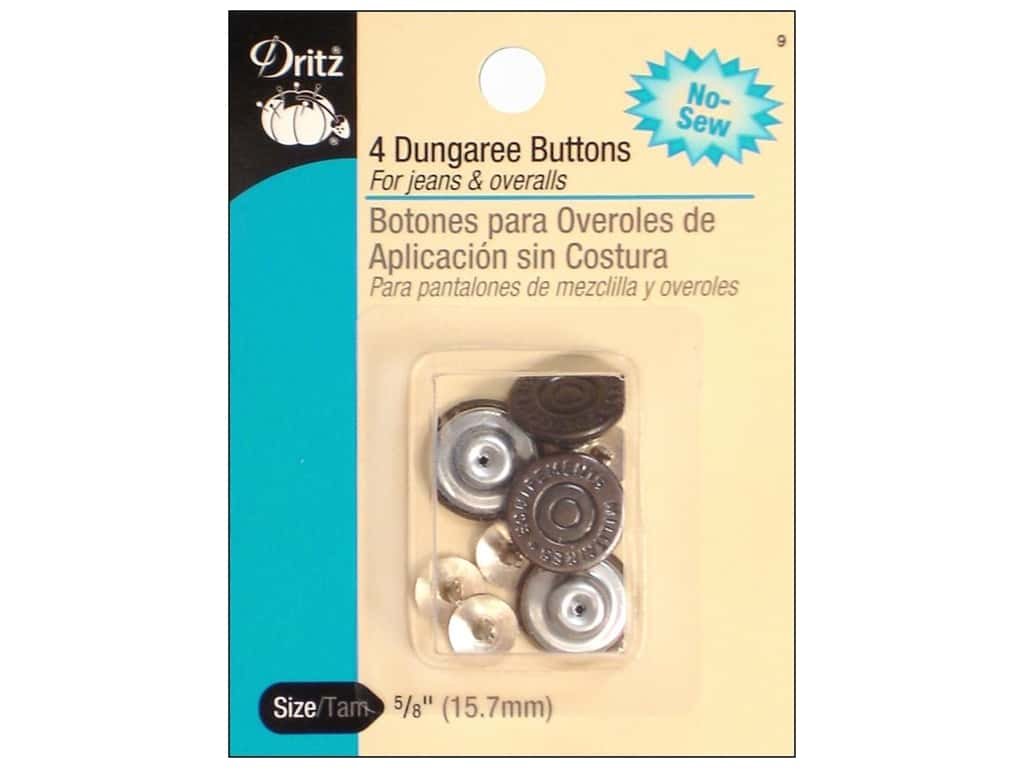 No Sew Dungaree Buttons by Dritz Copper 4pc.