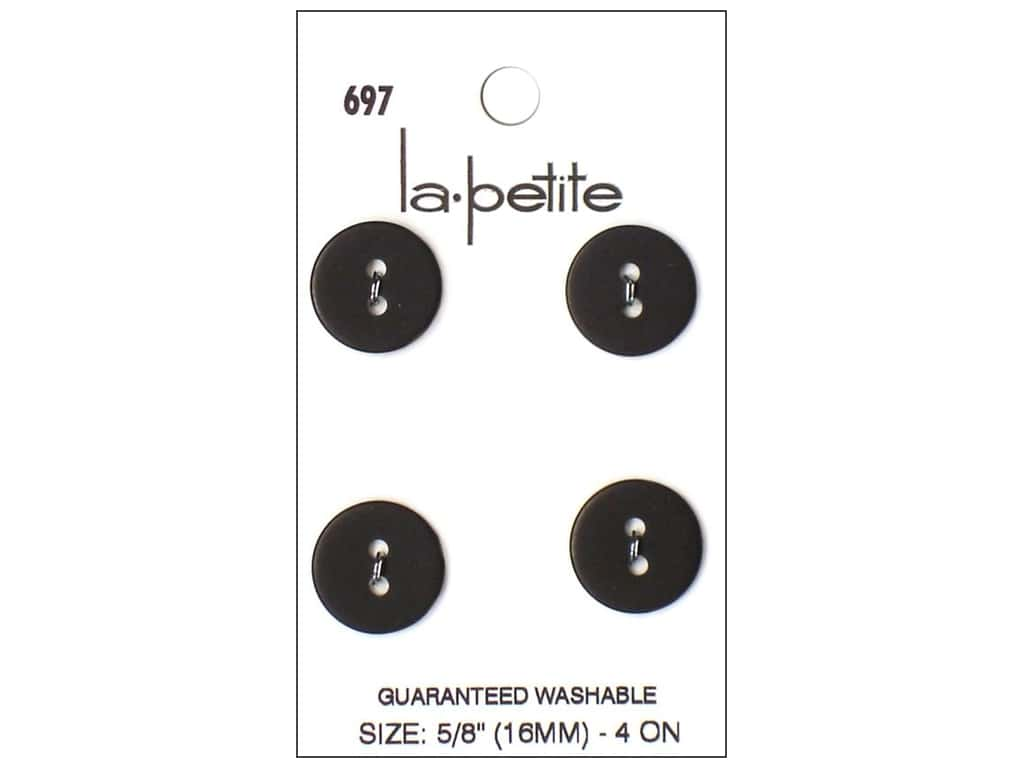 LaPetite 2 Hole Buttons 5/8 in. Black #697 4pc.