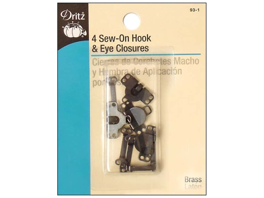 Sew On Hook and Eye Closures by Dritz Black 4pc.