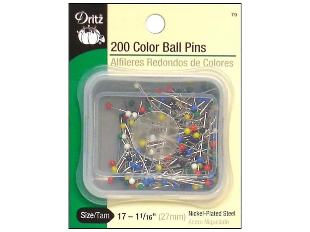 Color Ball Pins by Dritz Size 17 200 pc.