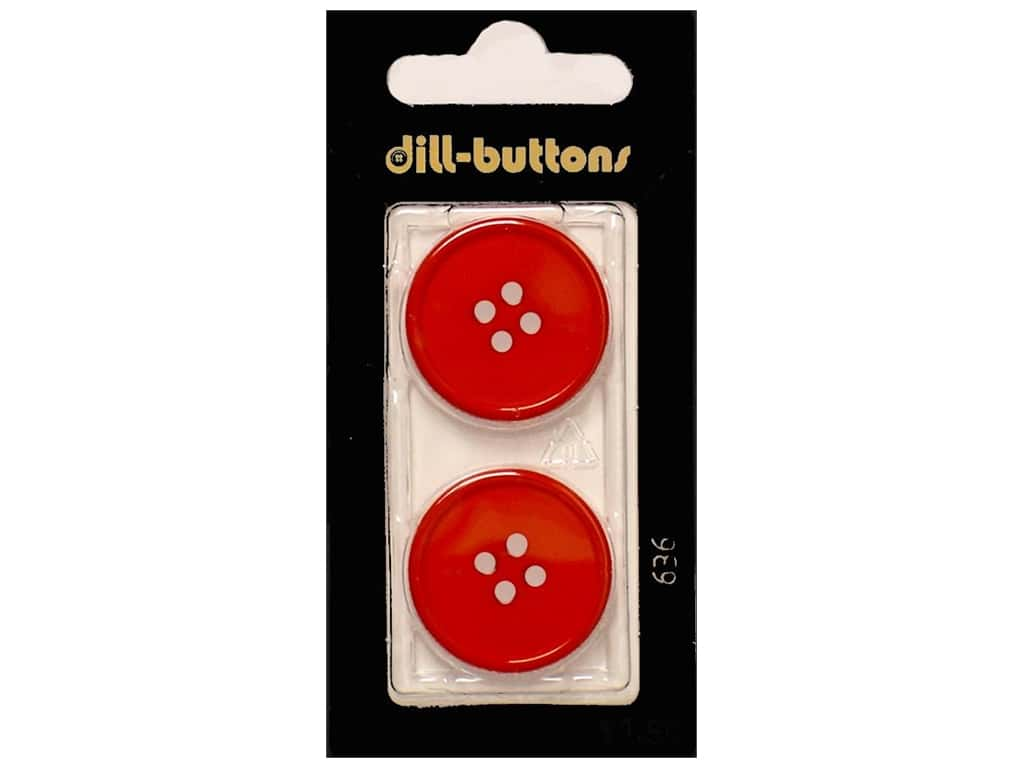 Dill 4 Hole Buttons 1 in. Red #636 2 pc.