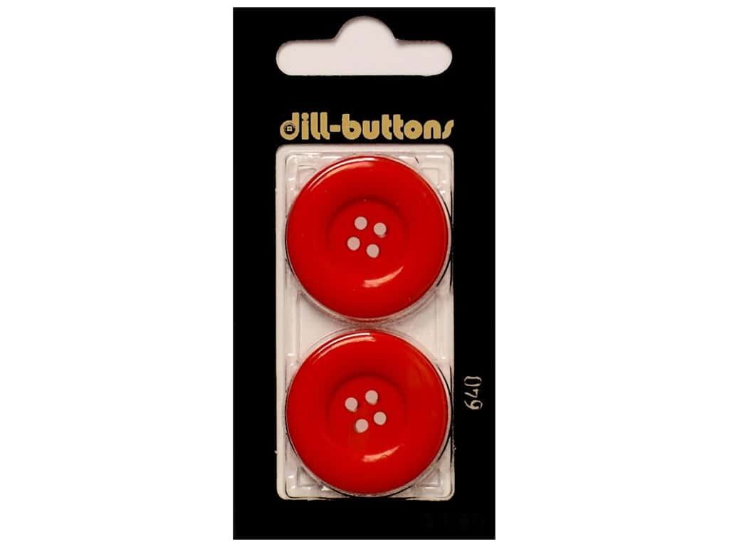 Dill 4 Hole Buttons 1 1/8 in. Red #640 2 pc.