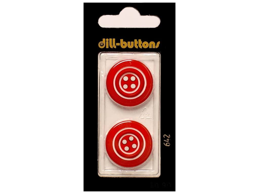 Dill 4 Hole Buttons 7/8 in. Red #642 2 pc.