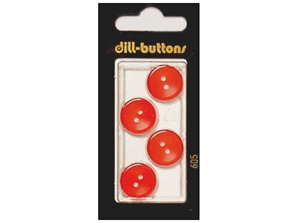 Dill 2 Hole Buttons 5/8 in. Red #605 4 pc.