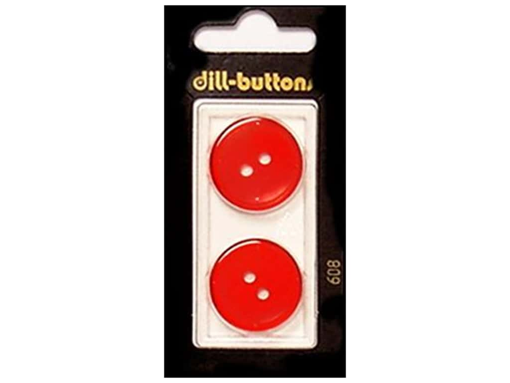 Dill 2 Hole Buttons 7/8 in. Red #608 2 pc.