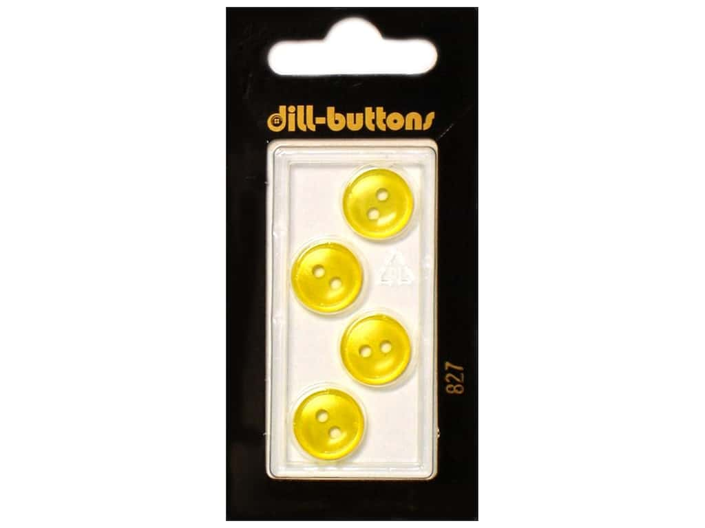Dill 2 Hole Buttons 1/2 in. Yellow #827 4 pc.
