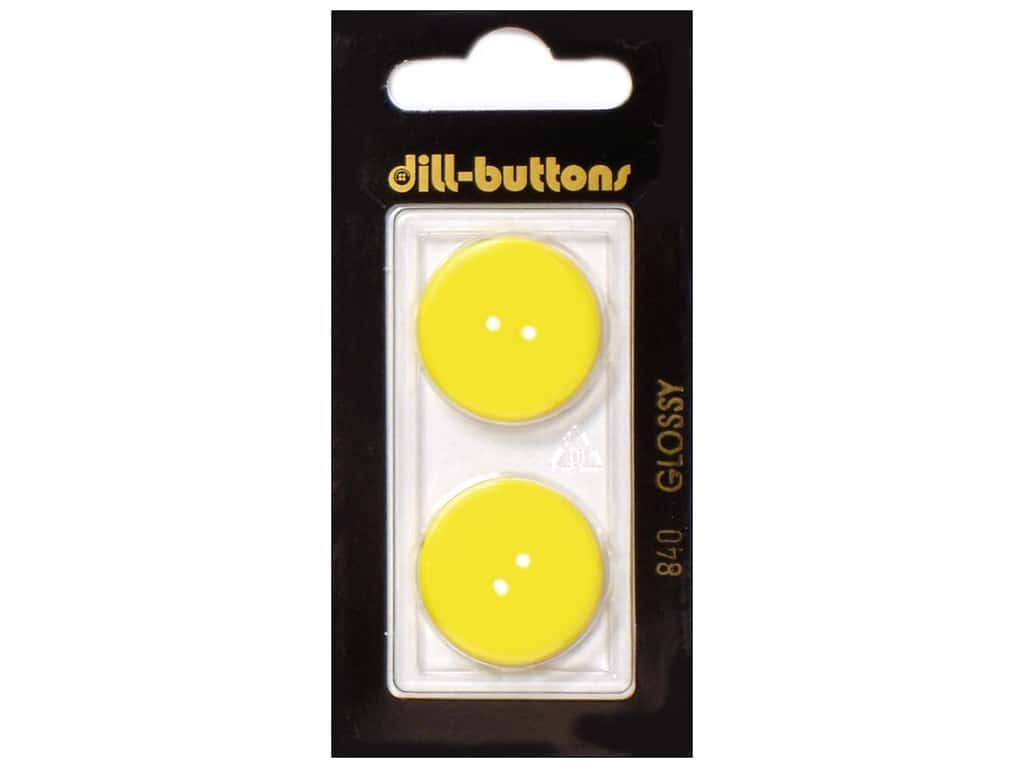 Dill 2 Hole Buttons 7/8 in. Yellow #840 2 pc.