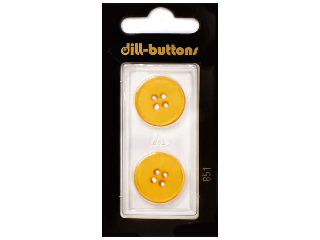 Dill 4 Hole Buttons 13/16 in. Yellow #851 2 pc.