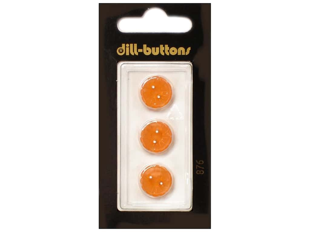 Dill 2 Hole Buttons 1/2 in. Orange #876 3 pc.