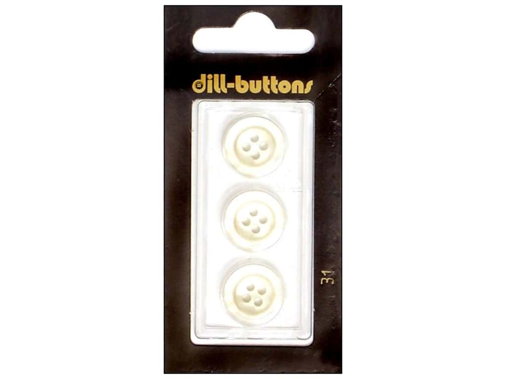 Dill 4 Hole Buttons 5/8 in. White #31 3 pc.