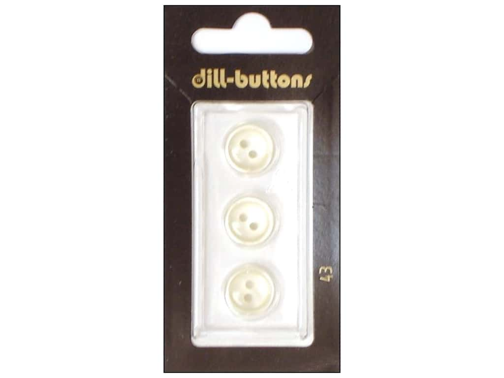 Dill 2 Hole Buttons 1/2 in. White #43 3 pc.