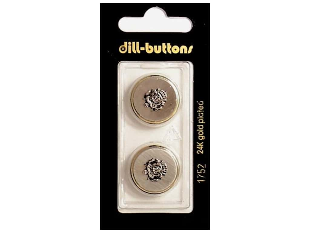 Dill Shank Buttons 13/16 in. Gold Metal Crest #1752 2 pc.